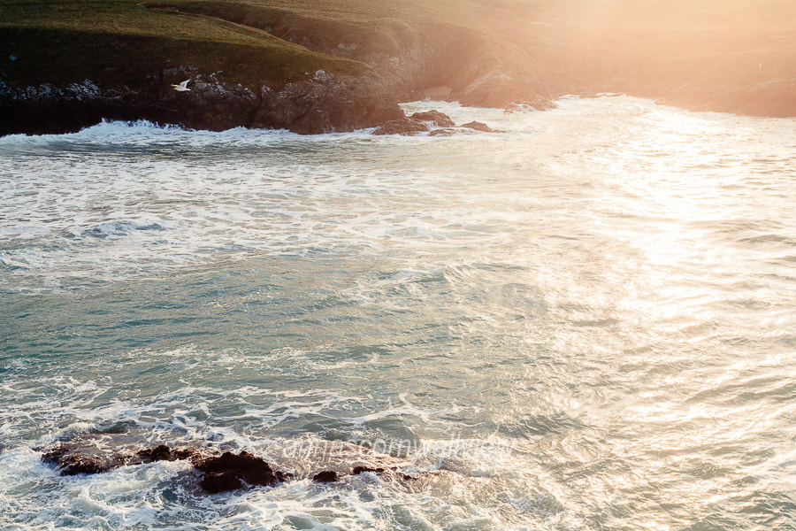 Picture of light on the sea at Polly Joke beach from Pentire Point West